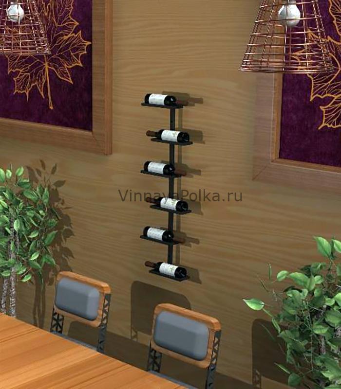 Держатель настенный на 6 винных бутылок прямой