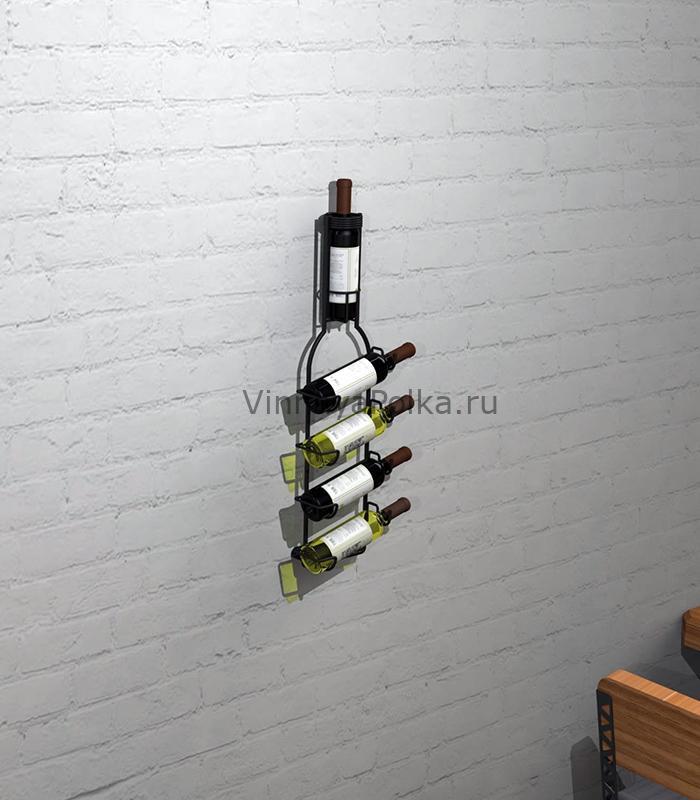 """Настенный держатель """"Бутылка"""" на 5 винных бутылок"""