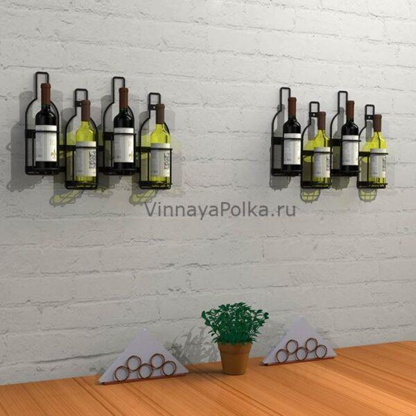 """Настенный держатель """"Бутылки"""" для 4 винных бутылок"""