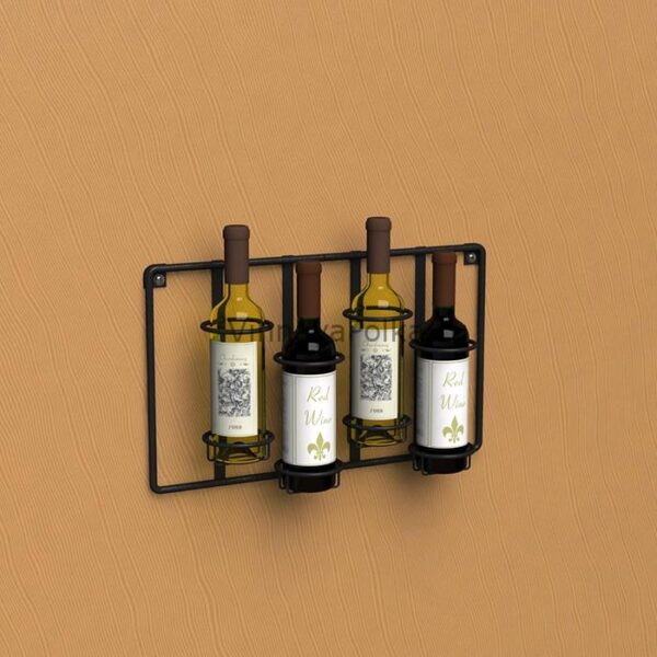 Настенный держатель для 4 винных бутылок прямой, проволочный